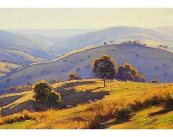 Australian landscape painting Summer Oil Painting grazing sheep by listed artist G.Gercken