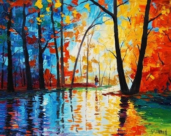Oriiginal oil painting Palette Knife Trees Painting Wall decor by listed artist G.Gercken