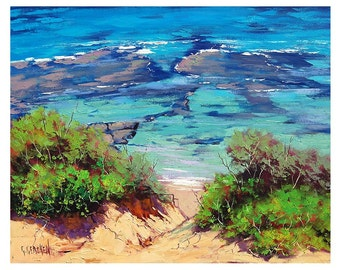 BEACH ART PAINTING  Impressionist Seascape Oil by G.Gercken