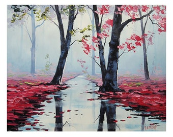 ORIGINAL Oil Misty Pink Landscape Painting River  Pink wall decor by G.Gercken Award winning Artist
