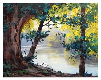 OIL PAINTING TUMUT River Australia Landscape Painting by G.Gercken Award winning Artist