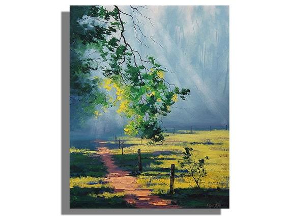 "ORIGINAL LARGE PAINTING 30 x 24"" Contemporary Landscape signed oil by G.Gercken Award winning Artist"