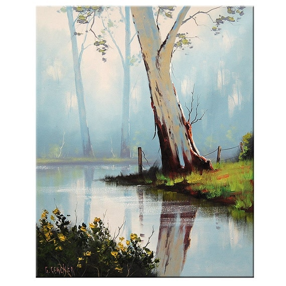 ORIGINAL FINE ART Australian River Gums Traditional Landscape oil painting by G.Gercken Award winning Artist