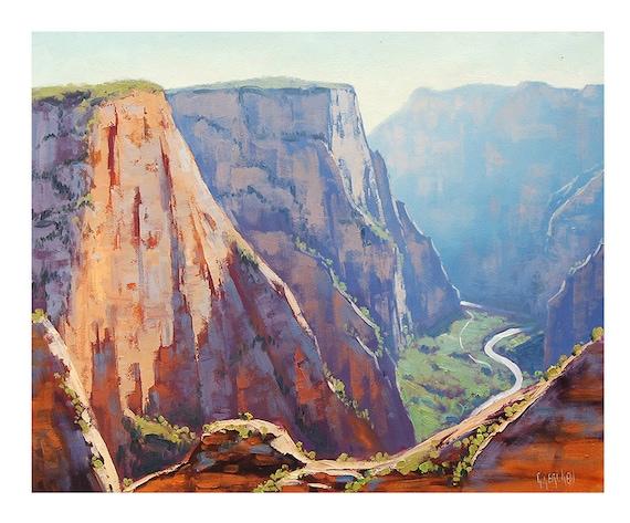ORIGINAL OIL PAINTING Zion Canyon Utah by Graham Gercken