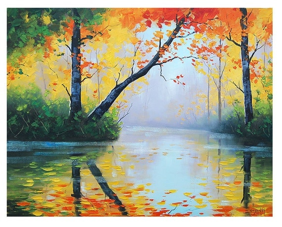 ORIGINAL OIL PAINTING River Impressionist Tree Vibrant Fall Landscape Art  trees painting  by award winning artist Graham Gercken