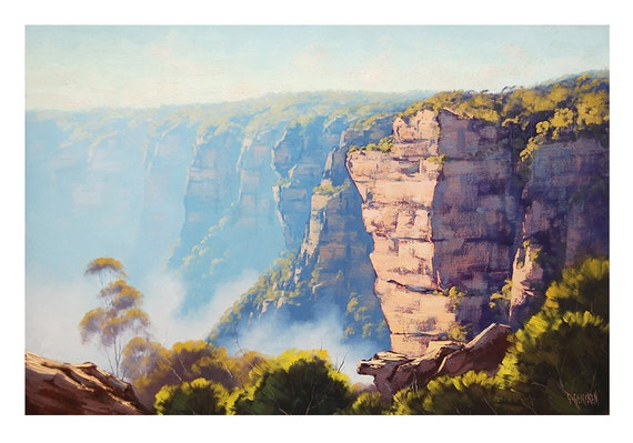 BLUE MOUNTAINS Oil PAINTING Katoomba Cliffs  nsw Australian Landscape Wall Art on Canvas