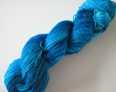 Growl Tiger- Superwash Sock Yarn- BFL Nylon- Turquiose-100g