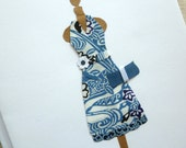 Blank Greeting Card Blue and White Halter Dress