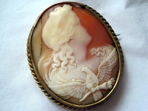 Antique Cameo - Girl with Dove