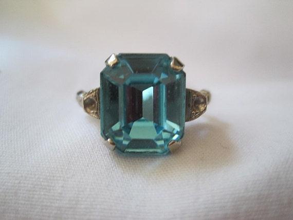 Vintage Art Deco Ring - Sterling Silver - Topaz Glass