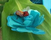 Honey Bee and Felt Flower Brooch