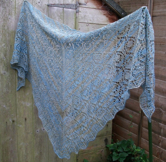 Soft Blue Hand Knitted Lace Shawl