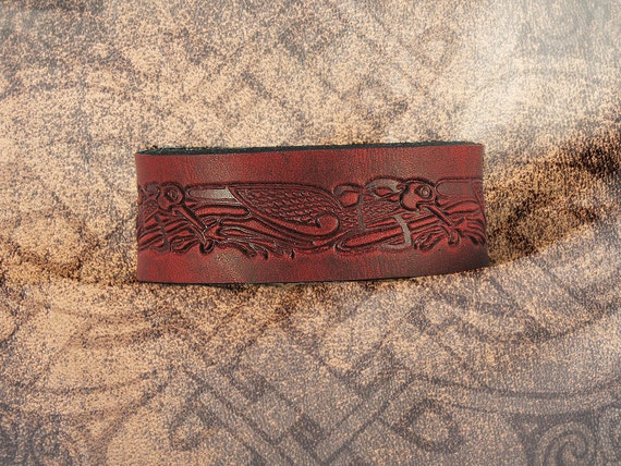 Leather Cuff - The Celtic Cranes