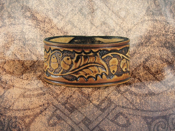 Leather Cuff - The Burnt Oak and the Acorn
