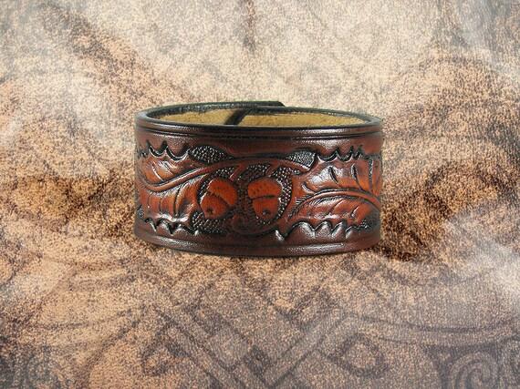 Leather Cuff - Oak and Acorn