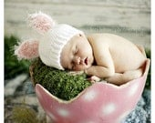 Crochet White Baby Bunny Hat  Photography Prop 0 - 3 Months/ Ready to Ship