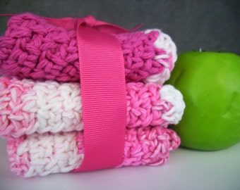 Home,Living,Bathroom,Kitchen,Crochet Cloths ,Cleaning Supplies,Face Cloth,Cotton,White,Pink,wash cloth