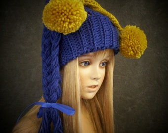 Blue Toboggan,Ski Hat, Toddler Hat,Children's Accessory,Crochet Toboggan,Crochet Child's Hat,Children's Hats, Toddler Hats,Girls,Winter,Fall
