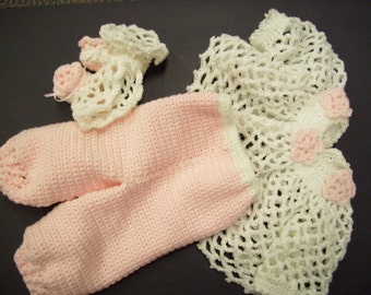 Clothing Sets, Toddlers,Girls,Crochet Poncho,Crochet Pants,Crochet Booties,Pink & white,