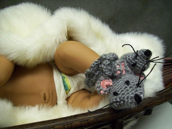 Little Grey Mouse Baby Booties - Available for immediate shipment