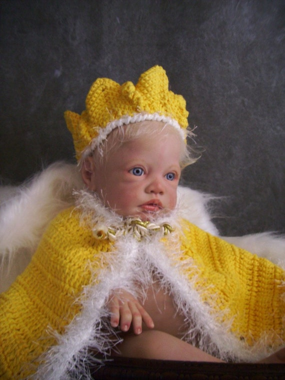 Your Royal Majesty Crochet Yellow Cape and Crown with Fun Fur Trim/Baby Photography Prop