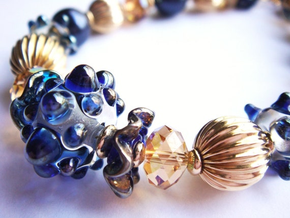 15% OFF SALE - Starry Night 14k gold fill and lampwork bracelet - OOAK
