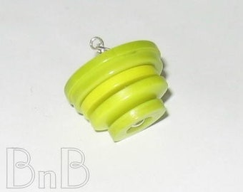 Bright Chartreuse Button Pendant with Necklace