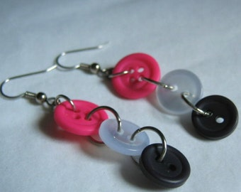 Hot Pink White and Blue Button Earrings