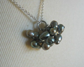 Cluster of Freshwater Pearls Pendant on Light Curb Chain