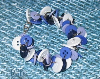 Chunky Buttoned Bracelet Denim Blues