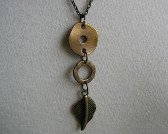 Antiqued Bronze Necklace Dangling Leaf Pendant