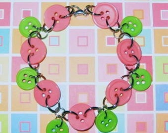 Bubblegum Pink and  Lime Green Buttoned Bracelet