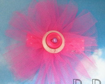 Hot Pink Fluffy Tulle Hair Clip Clippie