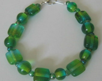 Bright Bottle Green and Aqua Chunky Glass Bead Bracelet