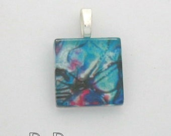 Beaded Art Collection - Glass Tile Pendant Spattered Blues
