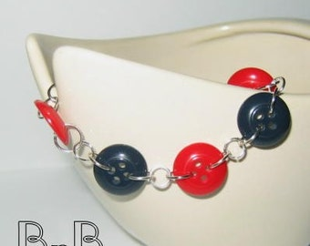 Shiny Red and Blue Buttoned Bracelet