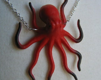 Bold Red Octopus Necklace