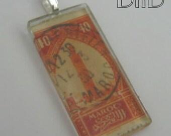 Vintage Stamp Glass Tile Pendant