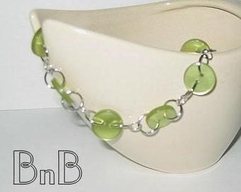 Lime Green Buttoned Bracelet