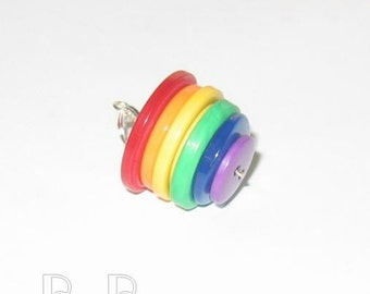 Rainbow Buttons Pendant with Necklace