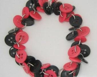 Chunky Button Bracelet Black and Dark Pink
