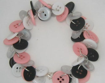 Chunky Button Bracelet Black Pink and White