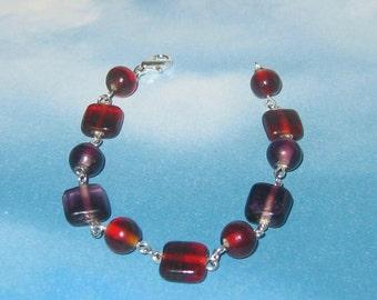 Scarlet and Amethyst Glass Beaded Bracelet