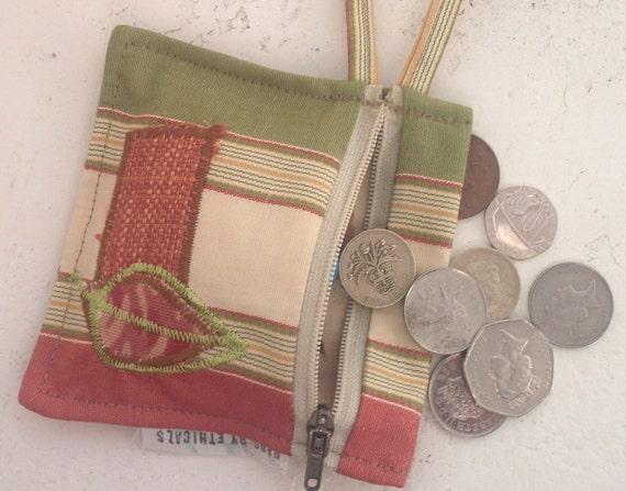 OOAK Small Coin Purse in recycled fabrics. Leaves Design for 2012