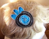 Hair Clip and Brooch Zipper Flower Turquoise and Black