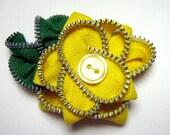 Brooch Hand Sewn Zipper Flower Yellow