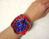 Cuff Bracelet Zipper Flower Red & Purple