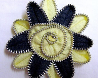Zipper Brooch Dark Navy Blue and Lemon-Lime Yellow