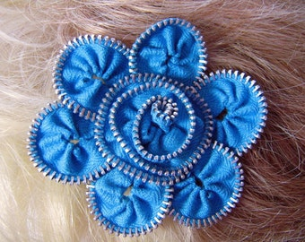 Turquoise Flower Hair Clip Vintage Zippers