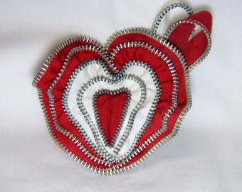 Red and White Zipper Brooch / Hair Clip